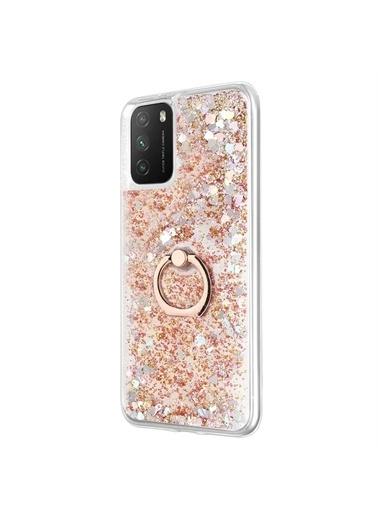 Microsonic Xiaomi Poco M3 Kılıf Glitter Liquid Holder Gümüş Altın